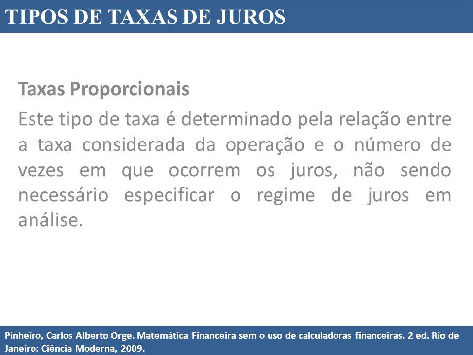 Taxas Proporcionais Este tipo de taxa é determinado pela relação entre a taxa considerada da operação e o número de vezes em que ocorrem os juros, não sendo necessário especificar o regime de juros em análise.