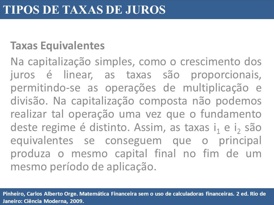 TIPOS DE TAXAS DE JUROS Pinheiro, Carlos Alberto Orge.
