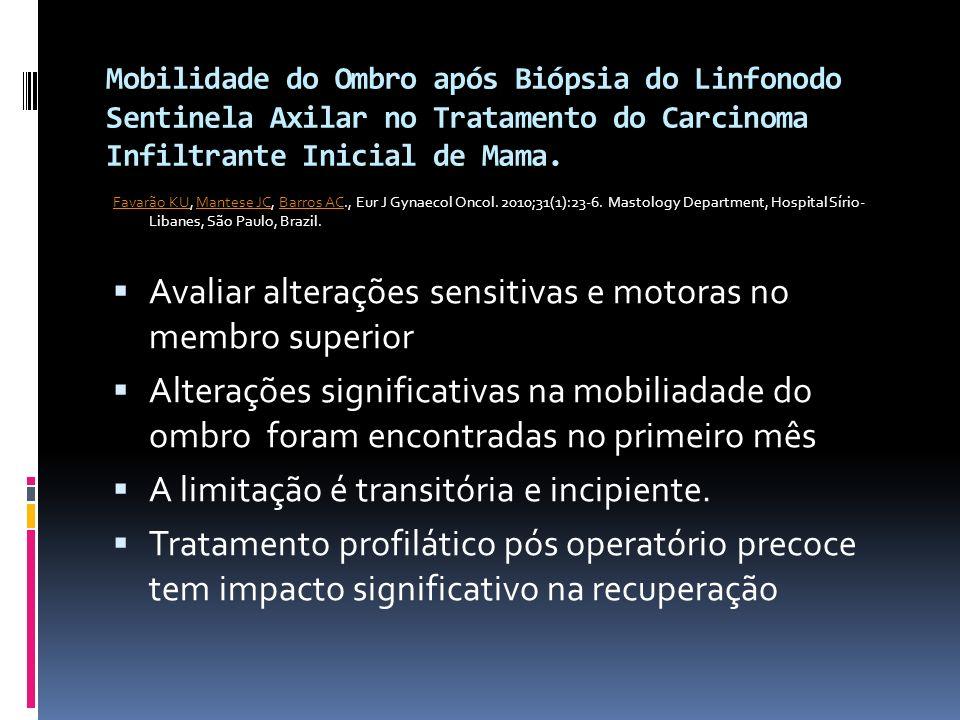 Mobilidade do Ombro após Biópsia do Linfonodo Sentinela Axilar no Tratamento do Carcinoma Infiltrante Inicial de Mama. Favarão KUFavarão KU, Mantese J