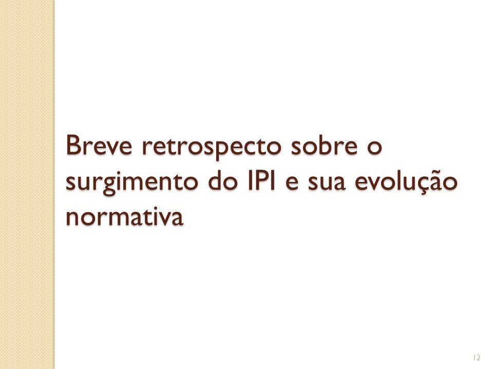 Breve retrospecto sobre o surgimento do IPI e sua evolução normativa 12