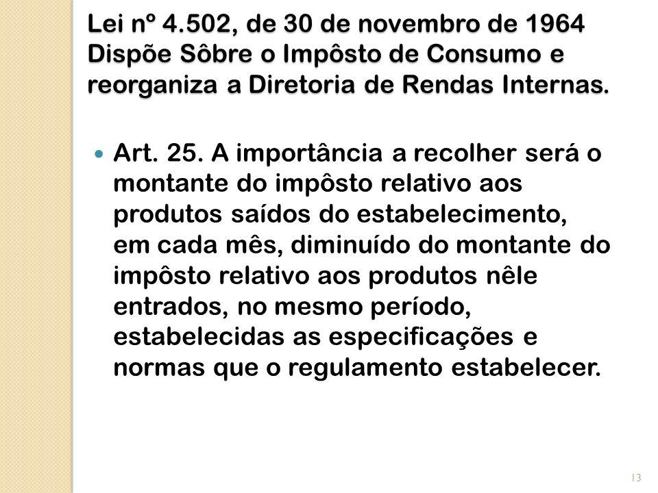 Lei nº 4.502, de 30 de novembro de 1964 Dispõe Sôbre o Impôsto de Consumo e reorganiza a Diretoria de Rendas Internas. Art. 25. A importância a recolh