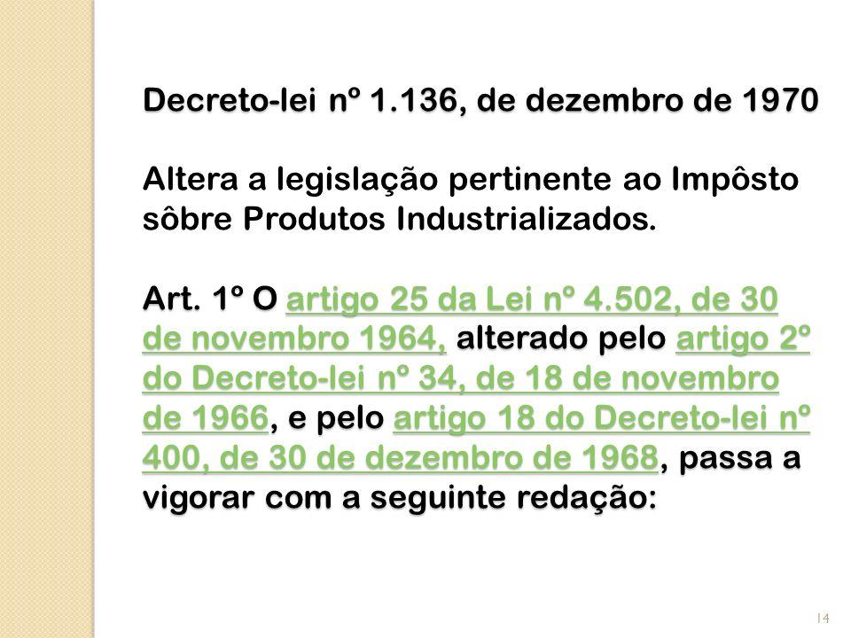 Decreto-lei nº 1.136, de dezembro de 1970 Art. 1º O artigo 25 da Lei nº 4.502, de 30 de novembro 1964, alterado pelo artigo 2º do Decreto-lei nº 34, d