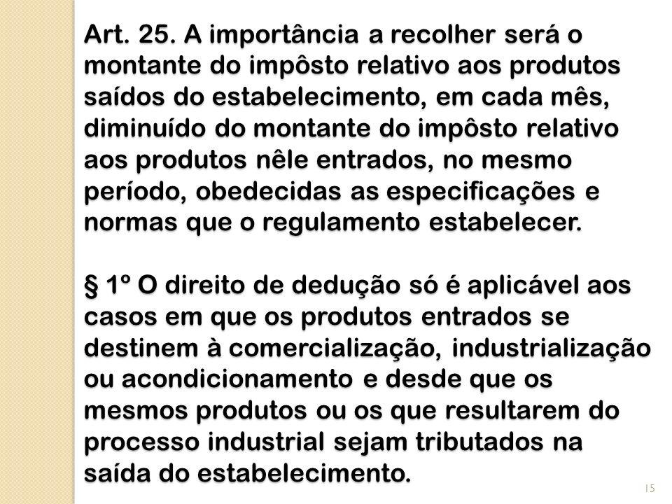 Art. 25. A importância a recolher será o montante do impôsto relativo aos produtos saídos do estabelecimento, em cada mês, diminuído do montante do im