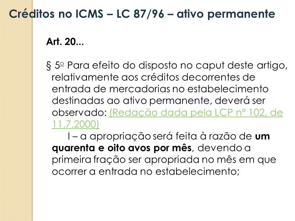 Art. 20... § 5 o Para efeito do disposto no caput deste artigo, relativamente aos créditos decorrentes de entrada de mercadorias no estabelecimento de