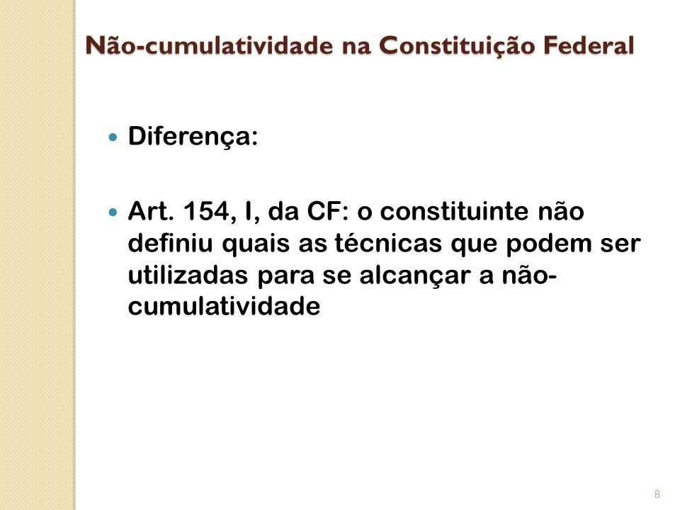 Não-cumulatividade na Constituição Federal Diferença: Art. 154, I, da CF: o constituinte não definiu quais as técnicas que podem ser utilizadas para s