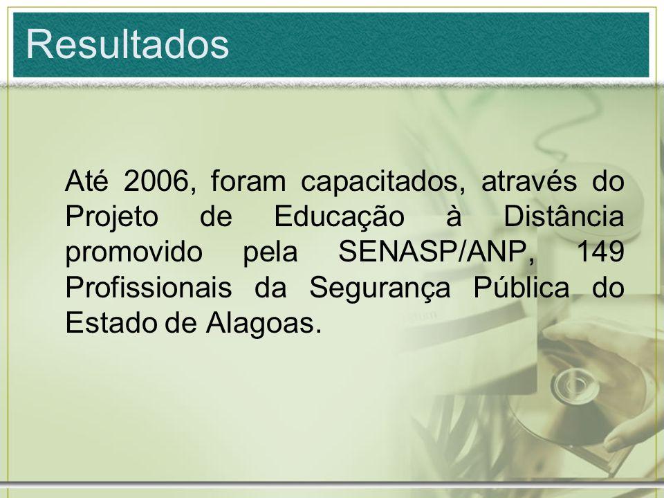 Resultados Até 2006, foram capacitados, através do Projeto de Educação à Distância promovido pela SENASP/ANP, 149 Profissionais da Segurança Pública d