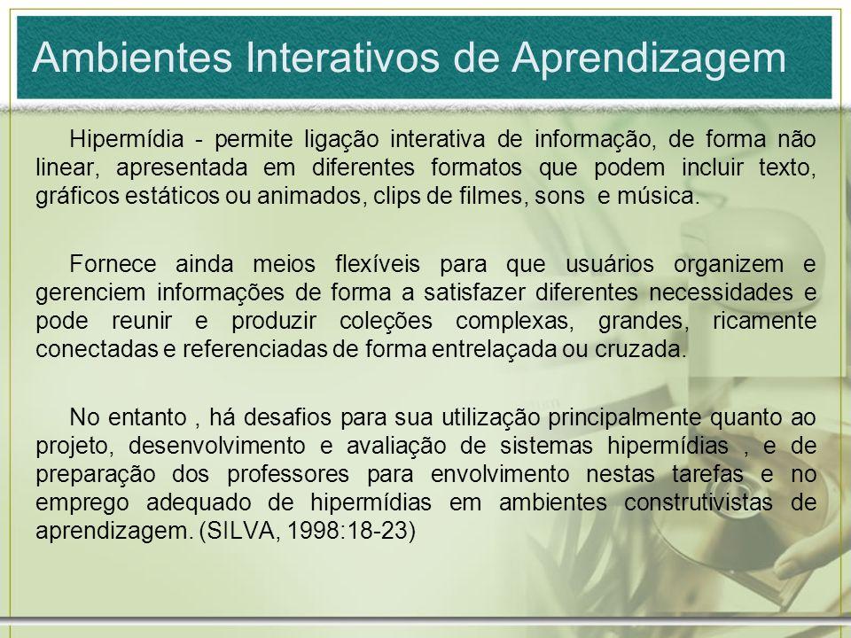Ambientes Interativos de Aprendizagem Hipermídia - permite ligação interativa de informação, de forma não linear, apresentada em diferentes formatos q