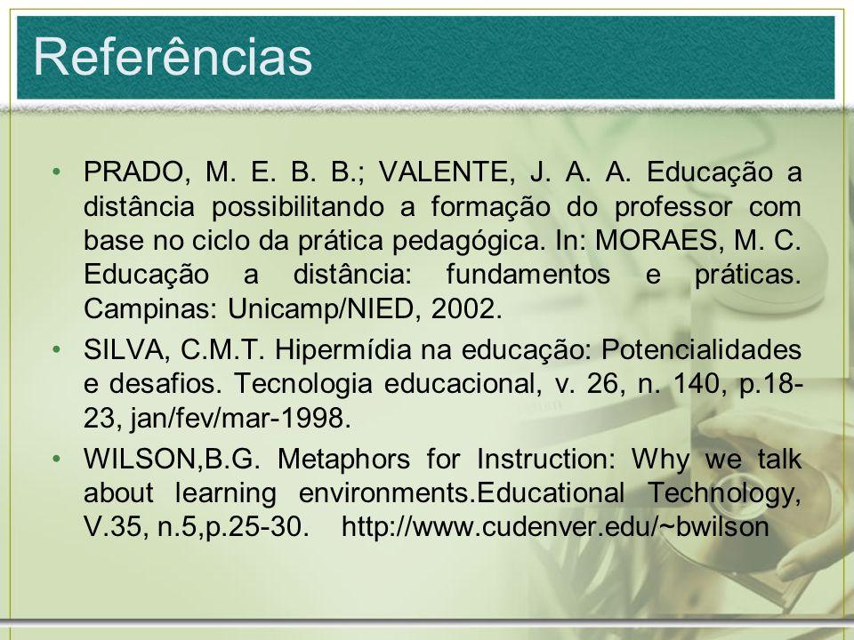 Referências PRADO, M. E. B. B.; VALENTE, J. A. A. Educação a distância possibilitando a formação do professor com base no ciclo da prática pedagógica.