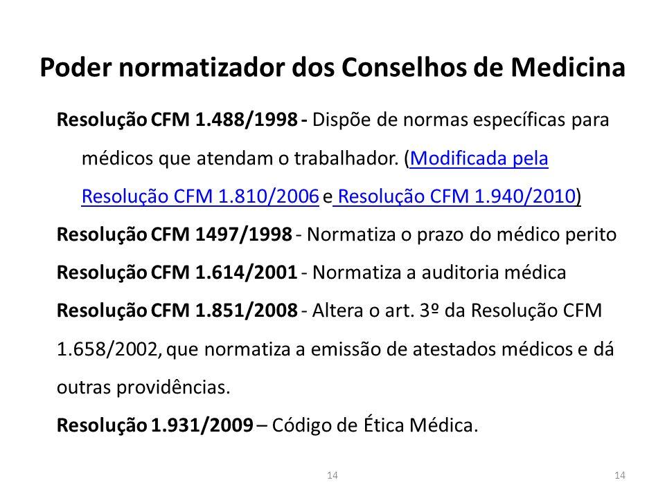 Poder normatizador dos Conselhos de Medicina Resolução CFM 1.488/1998 - Dispõe de normas específicas para médicos que atendam o trabalhador.
