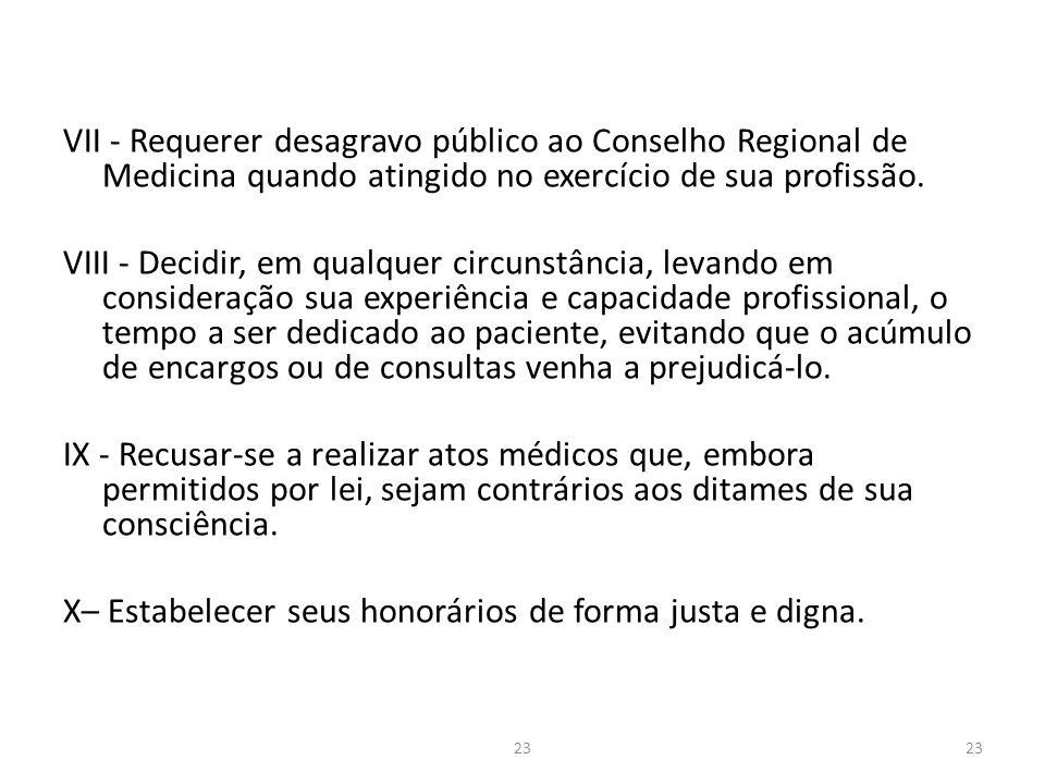 VII - Requerer desagravo público ao Conselho Regional de Medicina quando atingido no exercício de sua profissão.