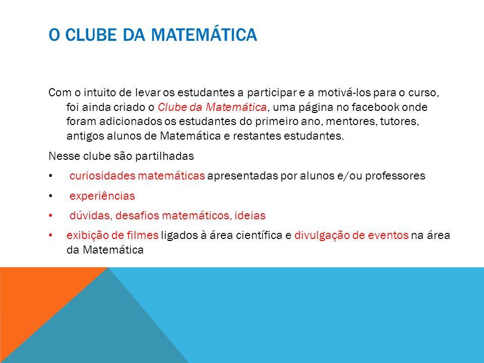 O CLUBE DA MATEMÁTICA Com o intuito de levar os estudantes a participar e a motivá-los para o curso, foi ainda criado o Clube da Matemática, uma págin