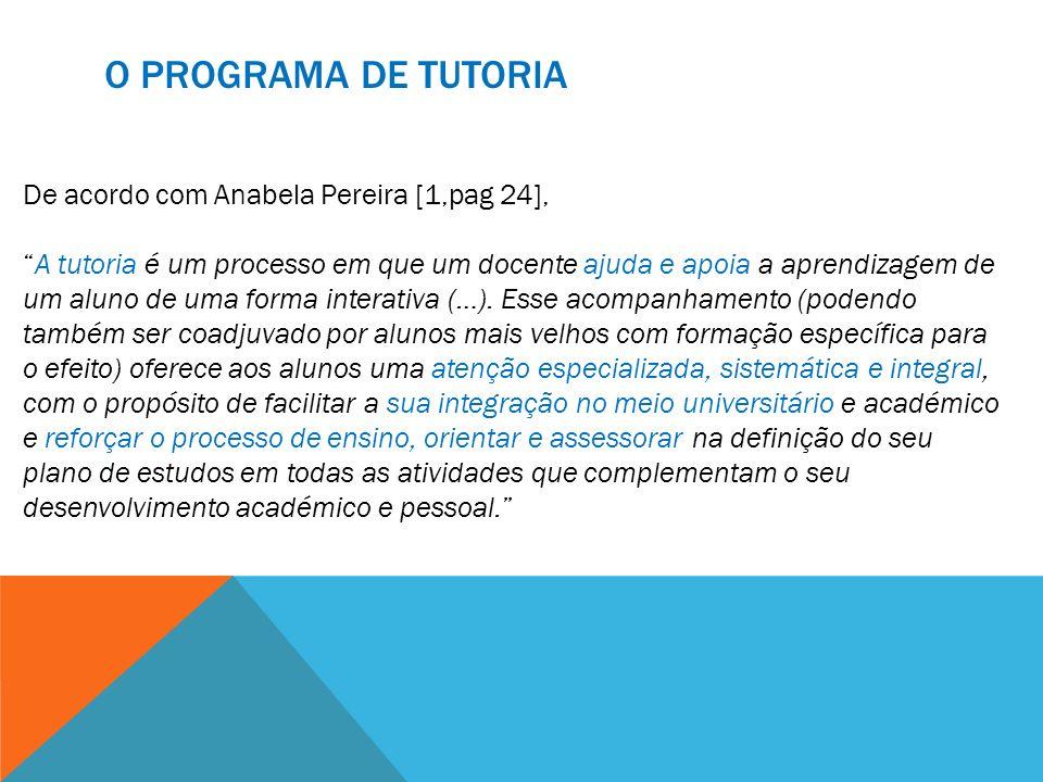 De acordo com Anabela Pereira [1,pag 24], A tutoria é um processo em que um docente ajuda e apoia a aprendizagem de um aluno de uma forma interativa (