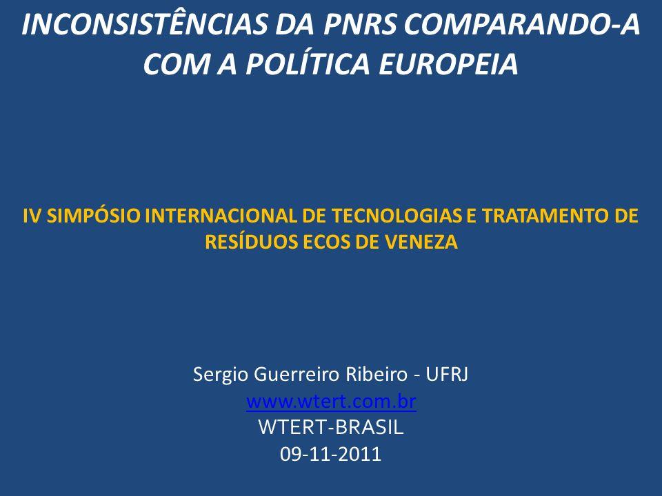 INCONSISTÊNCIAS DA PNRS COMPARANDO-A COM A POLÍTICA EUROPEIA IV SIMPÓSIO INTERNACIONAL DE TECNOLOGIAS E TRATAMENTO DE RESÍDUOS ECOS DE VENEZA Sergio G