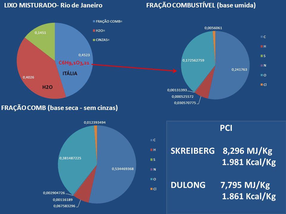 PCI SKREIBERG 8,296 MJ/Kg 1.981 Kcal/Kg DULONG 7,795 MJ/Kg 1.861 Kcal/Kg ITÁLIA