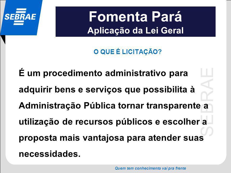 SEBRAE Quem tem conhecimento vai pra frente Fomenta Pará Aplicação da Lei Geral Artigo 45 (Lei nº 123/06) Para efeito do disposto no art.