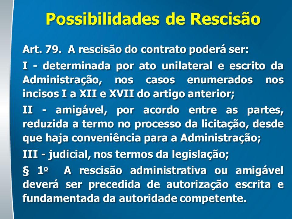Possibilidades de Rescisão Art. 79. A rescisão do contrato poderá ser: I - determinada por ato unilateral e escrito da Administração, nos casos enumer