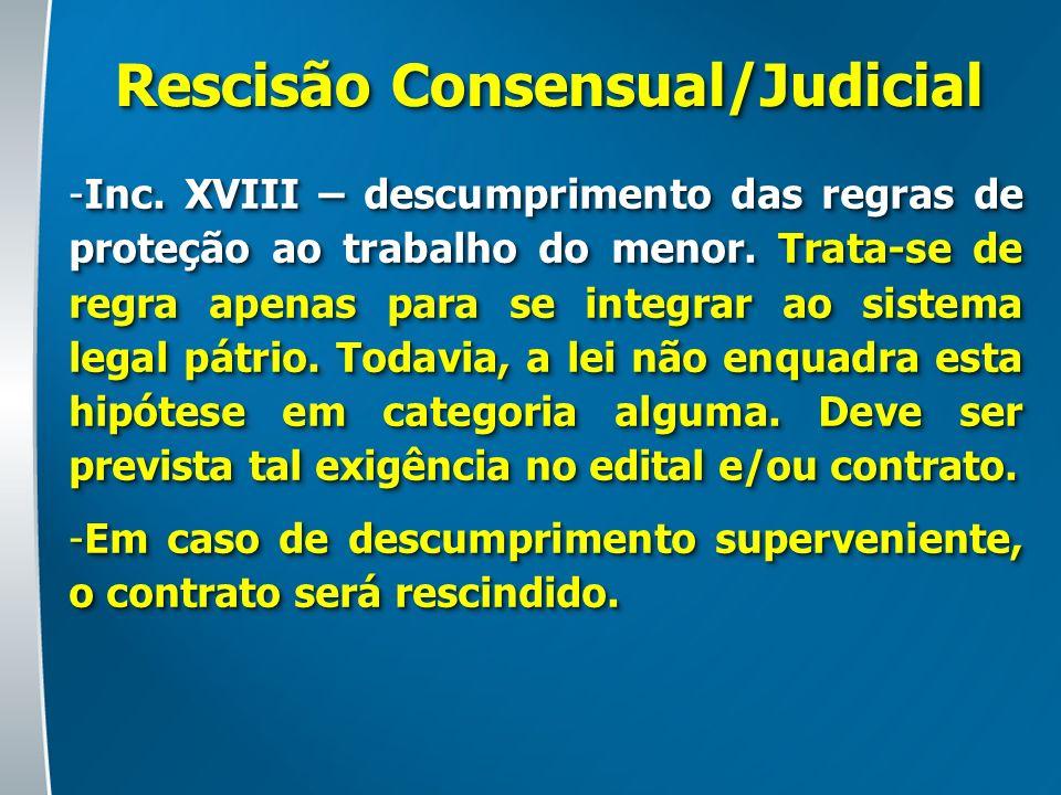 Rescisão Consensual/Judicial -Inc. XVIII – descumprimento das regras de proteção ao trabalho do menor. Trata-se de regra apenas para se integrar ao si