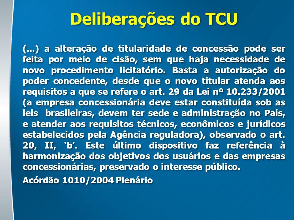 Deliberações do TCU (...) a alteração de titularidade de concessão pode ser feita por meio de cisão, sem que haja necessidade de novo procedimento lic