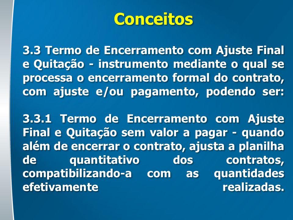 Conceitos 3.3 Termo de Encerramento com Ajuste Final e Quitação - instrumento mediante o qual se processa o encerramento formal do contrato, com ajust