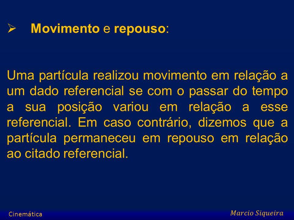 Movimento e repouso: Uma partícula realizou movimento em relação a um dado referencial se com o passar do tempo a sua posição variou em relação a esse
