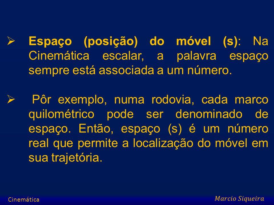 Espaço (posição) do móvel (s): Na Cinemática escalar, a palavra espaço sempre está associada a um número. Pôr exemplo, numa rodovia, cada marco quilom