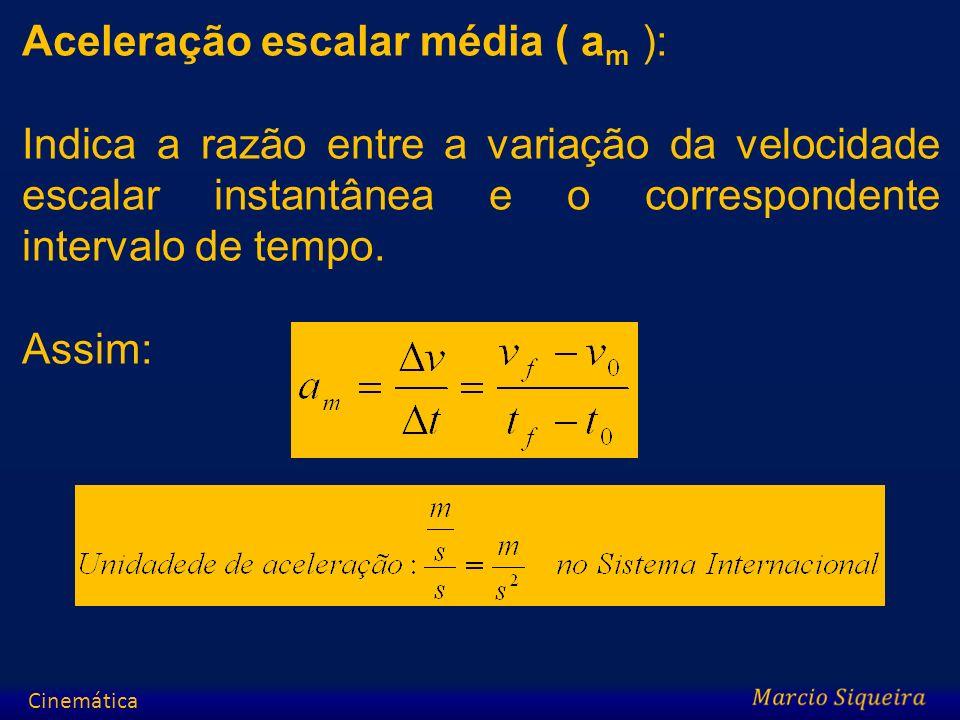 Aceleração escalar média ( a m ): Indica a razão entre a variação da velocidade escalar instantânea e o correspondente intervalo de tempo. Assim: Cine