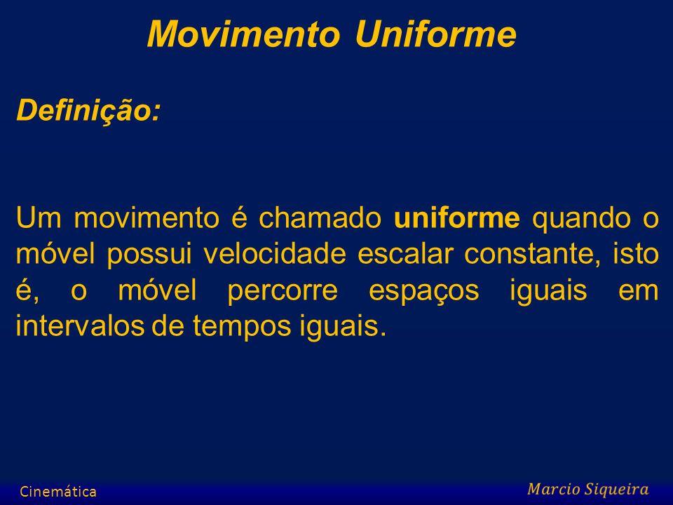 Movimento Uniforme Definição: Um movimento é chamado uniforme quando o móvel possui velocidade escalar constante, isto é, o móvel percorre espaços igu