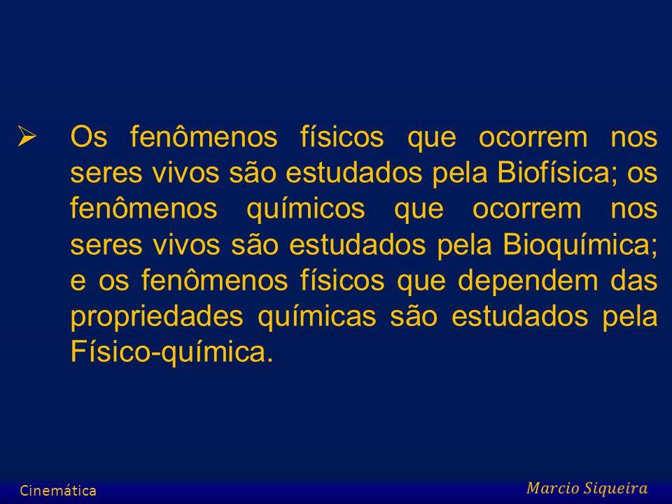 Os fenômenos físicos que ocorrem nos seres vivos são estudados pela Biofísica; os fenômenos químicos que ocorrem nos seres vivos são estudados pela Bi
