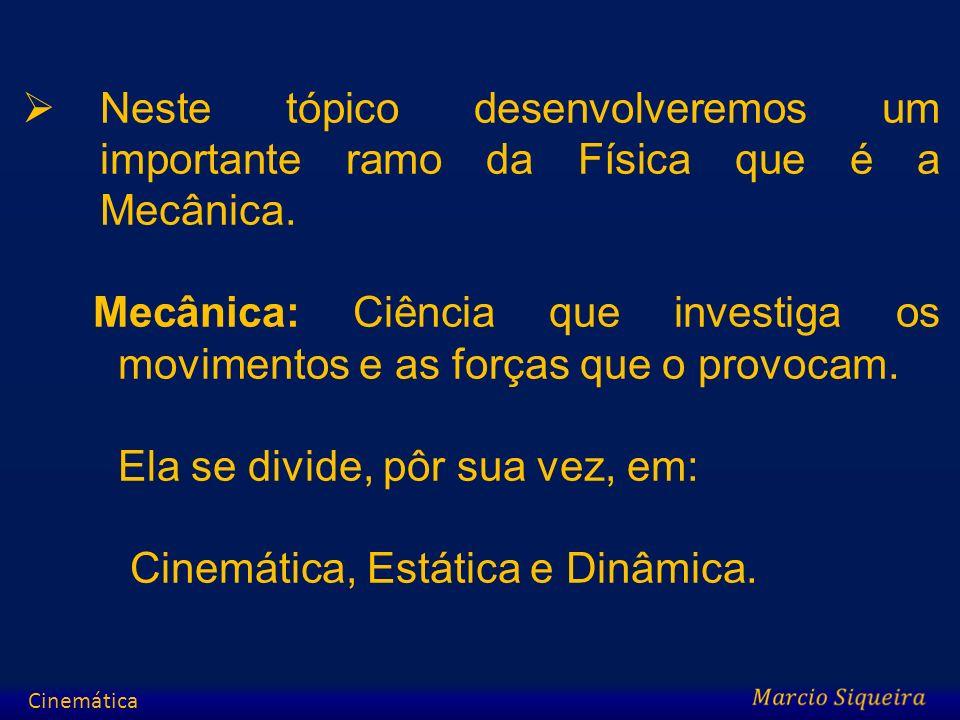 A Cinemática é a descrição geométrica do movimento através de funções matemáticas.