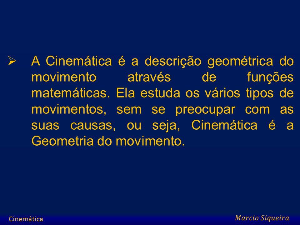 A Cinemática é a descrição geométrica do movimento através de funções matemáticas. Ela estuda os vários tipos de movimentos, sem se preocupar com as s
