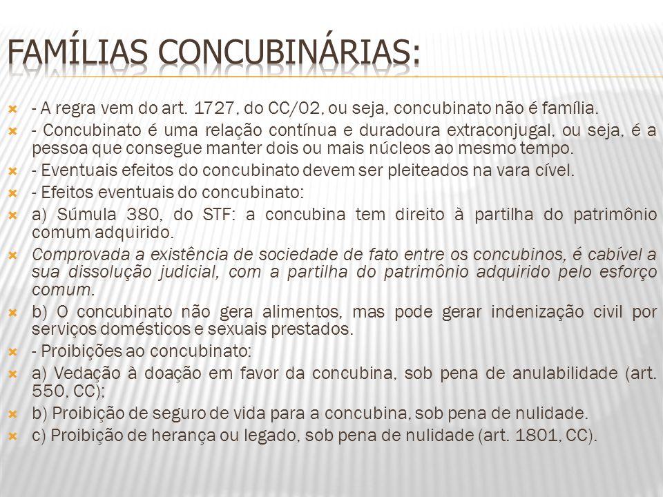 - A regra vem do art. 1727, do CC/02, ou seja, concubinato não é família. - Concubinato é uma relação contínua e duradoura extraconjugal, ou seja, é a