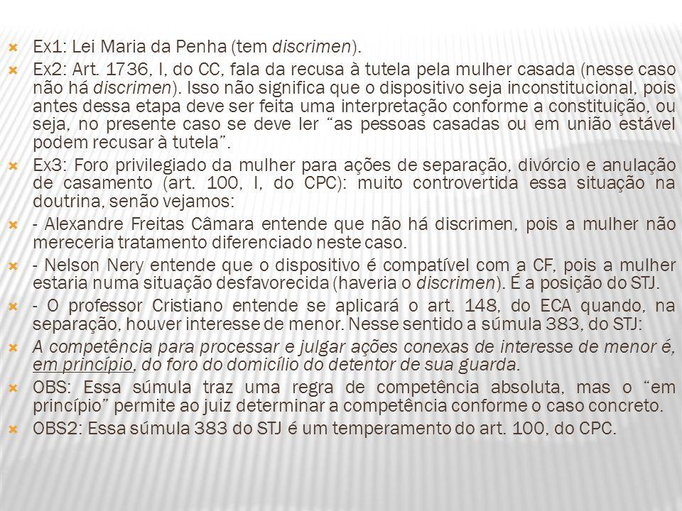 Ex1: Lei Maria da Penha (tem discrimen). Ex2: Art. 1736, I, do CC, fala da recusa à tutela pela mulher casada (nesse caso não há discrimen). Isso não