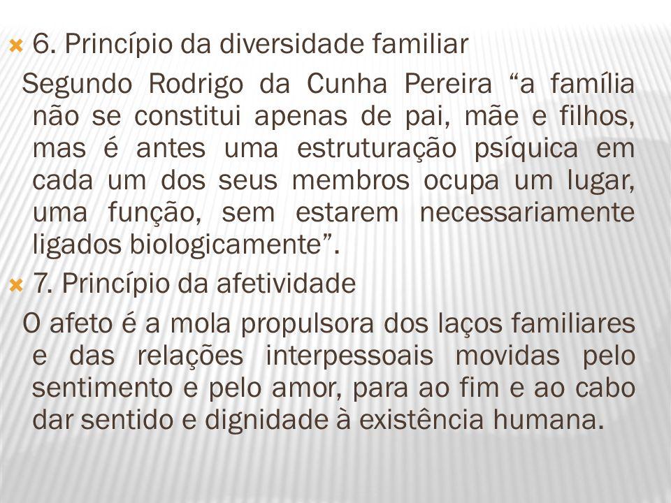 6. Princípio da diversidade familiar Segundo Rodrigo da Cunha Pereira a família não se constitui apenas de pai, mãe e filhos, mas é antes uma estrutur