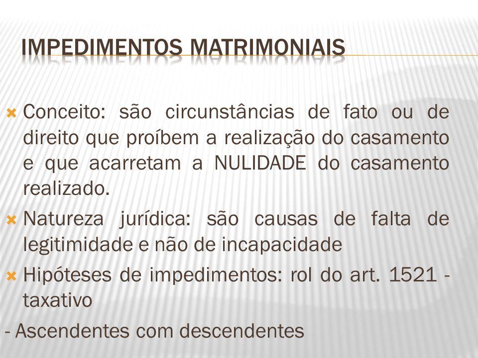 Conceito: são circunstâncias de fato ou de direito que proíbem a realização do casamento e que acarretam a NULIDADE do casamento realizado. Natureza j