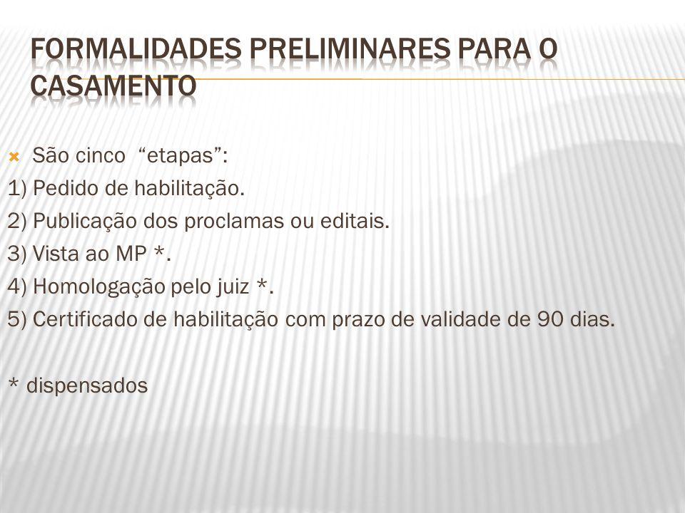 São cinco etapas: 1) Pedido de habilitação. 2) Publicação dos proclamas ou editais. 3) Vista ao MP *. 4) Homologação pelo juiz *. 5) Certificado de ha