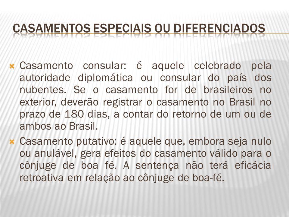 Casamento consular: é aquele celebrado pela autoridade diplomática ou consular do país dos nubentes. Se o casamento for de brasileiros no exterior, de