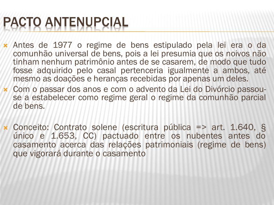 Antes de 1977 o regime de bens estipulado pela lei era o da comunhão universal de bens, pois a lei presumia que os noivos não tinham nenhum patrimônio