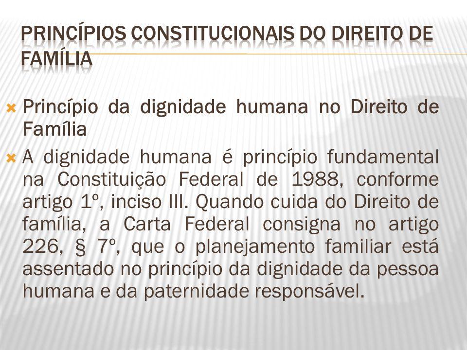 Princípio da dignidade humana no Direito de Família A dignidade humana é princípio fundamental na Constituição Federal de 1988, conforme artigo 1º, in