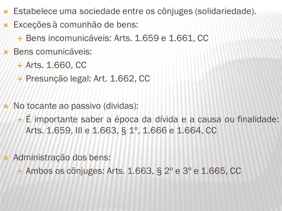Estabelece uma sociedade entre os cônjuges (solidariedade). Exceções à comunhão de bens: Bens incomunicáveis: Arts. 1.659 e 1.661, CC Bens comunicávei