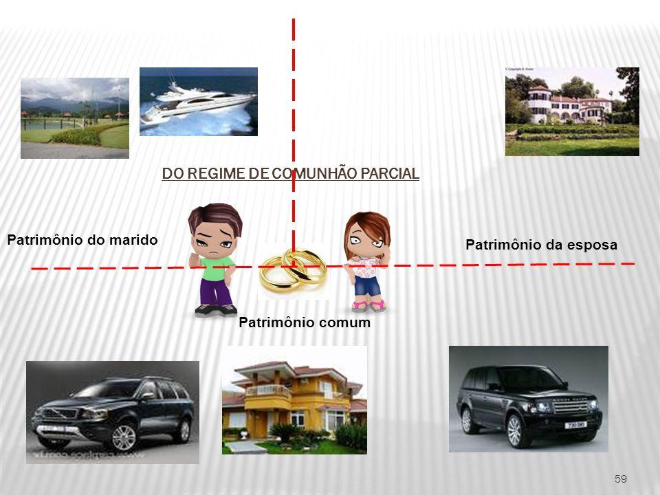 DO REGIME DE COMUNHÃO PARCIAL 59 Patrimônio do marido Patrimônio da esposa Patrimônio comum
