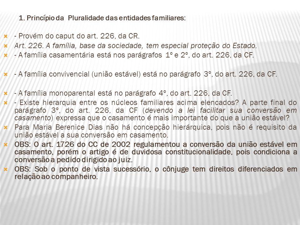 1. Princípio da Pluralidade das entidades familiares: - Provém do caput do art. 226, da CR. Art. 226. A família, base da sociedade, tem especial prote