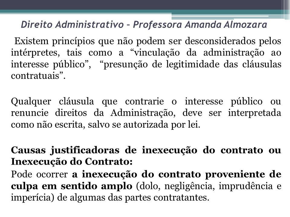 Direito Administrativo – Professora Amanda Almozara Existem princípios que não podem ser desconsiderados pelos intérpretes, tais como a vinculação da