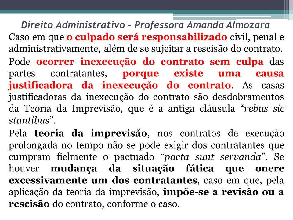 Direito Administrativo – Professora Amanda Almozara Caso em que o culpado será responsabilizado civil, penal e administrativamente, além de se sujeita