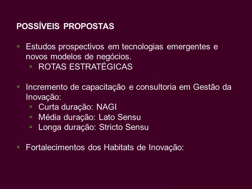 POSSÍVEIS PROPOSTAS Estudos prospectivos em tecnologias emergentes e novos modelos de negócios. ROTAS ESTRATÉGICAS Incremento de capacitação e consult