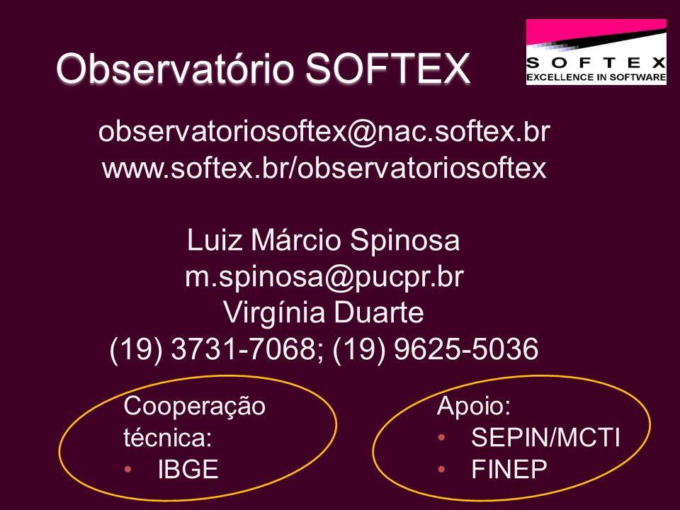 Observatório SOFTEX Apoio: SEPIN/MCTI FINEP observatoriosoftex@nac.softex.br www.softex.br/observatoriosoftex Luiz Márcio Spinosa m.spinosa@pucpr.br Virgínia Duarte (19) 3731-7068; (19) 9625-5036 Cooperação técnica: IBGE