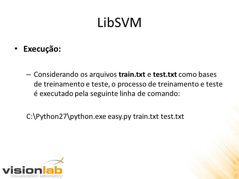 LibSVM Execução: – Considerando os arquivos train.txt e test.txt como bases de treinamento e teste, o processo de treinamento e teste é executado pela