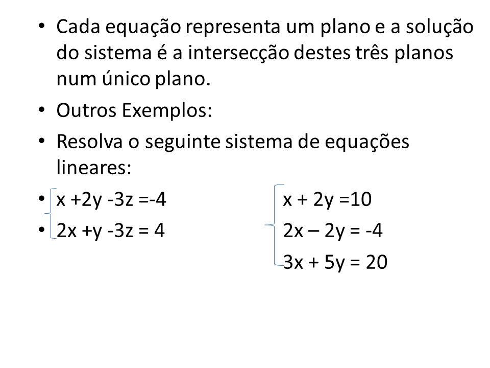 Cada equação representa um plano e a solução do sistema é a intersecção destes três planos num único plano. Outros Exemplos: Resolva o seguinte sistem