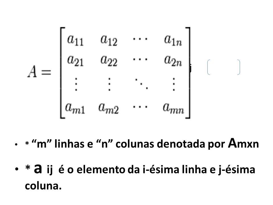 = a ij * m linhas e n colunas denotada por A mxn * a ij é o elemento da i-ésima linha e j-ésima coluna.