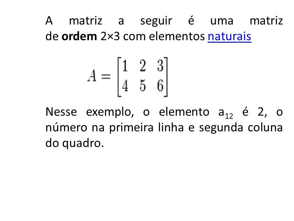 A matriz a seguir é uma matriz de ordem 2×3 com elementos naturaisnaturais Nesse exemplo, o elemento a 12 é 2, o número na primeira linha e segunda co
