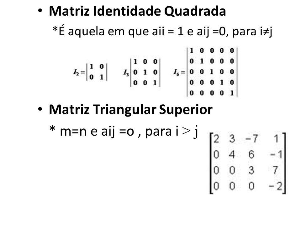 Matriz Identidade Quadrada *É aquela em que aii = 1 e aij =0, para ij Matriz Triangular Superior * m=n e aij =o, para i > j
